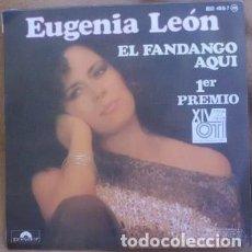 Discos de vinilo: EUGENIA LEON - EL FANDANGO AQUI - PRIMER PREMIO OTI 1985 - SINGLE SPAIN. Lote 233399730