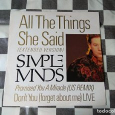 Discos de vinilo: SIMPLE MINDS – ALL THE THINGS SHE SAID. Lote 233404505