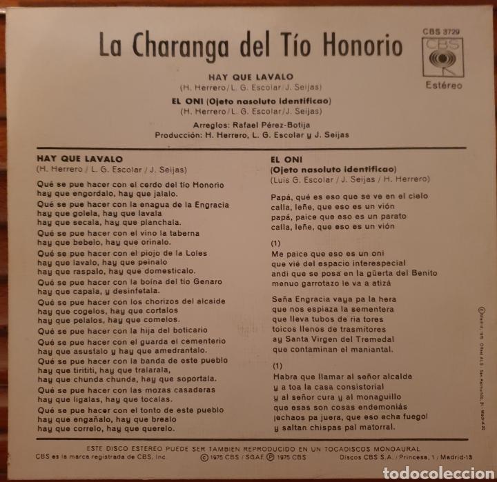 Discos de vinilo: SINGLE DE LA CHARANGA DEL TIO HONORIO - Foto 2 - 233537285