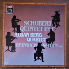 Discos de vinilo: SCHUBERT, QUINTET IN C, ALBAN BERG QUARTET, H. SCHIFF, EMI 0671435291, 1984. Lote 233570245