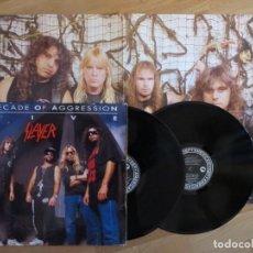 Discos de vinilo: SLAYER: DECADE OF AGGRESSION (DOBLE VINILO + POSTER) !!! 1991 DEF AMERICAN. Lote 233583890