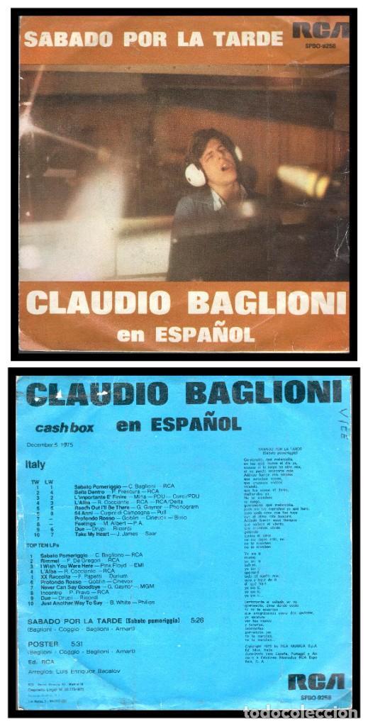 XX SINGLE, CLAUDIO BAGLIONI, POSTER Y SABADO POR LA TARDE. (Música - Discos - Singles Vinilo - Cantautores Internacionales)