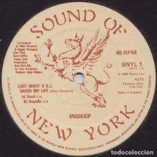 Discos de vinilo: INDEEP - LAST NIGHT A DJ SAVED MY LIFE - VINILO. Lote 233833105