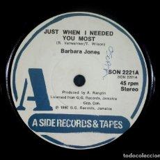 Discos de vinilo: BARBARA JONES - JUST WHEN I NEEDED YOU MOST / NEVER LET ME GO - SINGLE UK 1980 - A SIDE. Lote 233983385