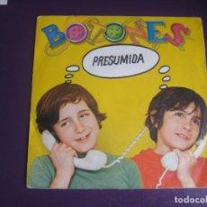 Disques de vinyle: BOTONES – PRESUMIDA - SG EPIC PROMO 1979 - MUSICA POP INFANTIL 80'S - PRODUCIDO X JUAN PARDO. Lote 233997645