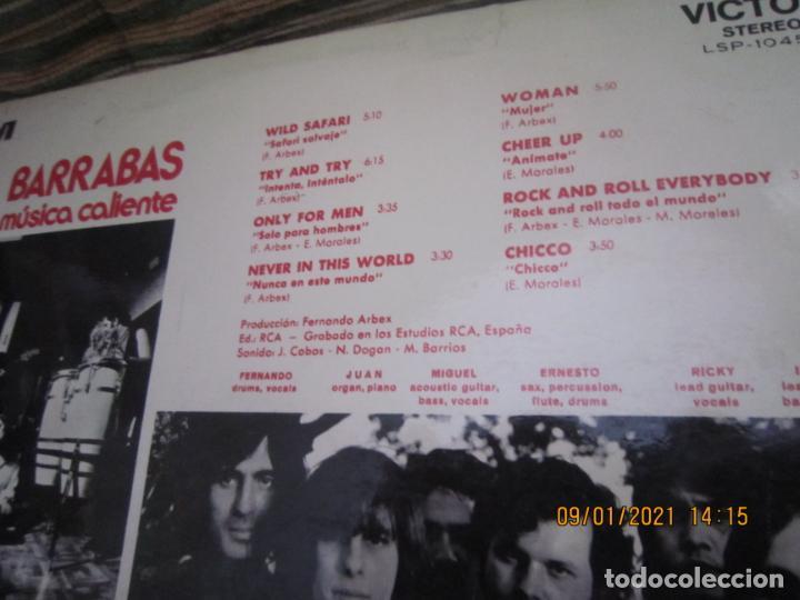 Discos de vinilo: BARRABAS - MUSICA CALIENTE LP -ORIGINAL ESPAÑOL - RCA RECORDS 1972 - STEREO - - Foto 4 - 234027270