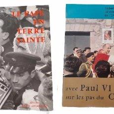 Discos de vinilo: DOS RAROS VINILOS DOCUMENTO SONORO LE PAPE EN TERRE SAINTE PABLO VI FRANCE 1964. Lote 234038940