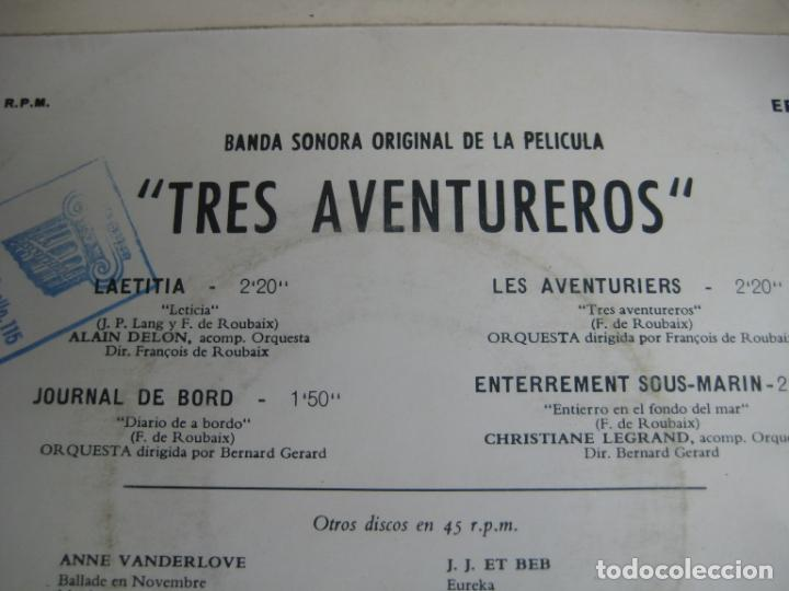 Discos de vinilo: Alain Delon – BSO CINE Les Aventuriers - EP LA VOZ DE SU AMO 1967 - LAETITIA +3 - FRANCIA 60S - Foto 3 - 234108465