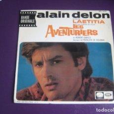 Discos de vinilo: ALAIN DELON – BSO CINE LES AVENTURIERS - EP LA VOZ DE SU AMO 1967 - LAETITIA +3 - FRANCIA 60'S. Lote 234108465