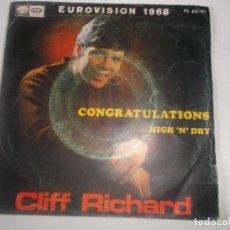 Discos de vinilo: CLIFF RICHARD-EUROVISION 1968-/CONGRATULATION/HIGH'N' DRY//SINGLE LA VOZ DE SU AMO-EMI,ESPAÑA. Lote 234396760
