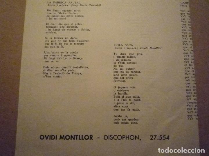 "Discos de vinilo: OVIDI MONTLLOR ""HISTÒRIA DUN AMIC+3"" EP 1969 DISCOPHON - Foto 5 - 234462295"