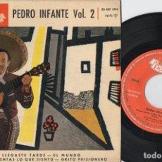 Discos de vinilo: PEDRO INFANTE - LLEGASTE TARDE - EP DE VINILO. Lote 234491755