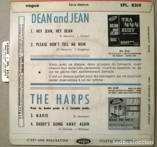 Discos de vinilo: Dean and Jean: Hey/ Please dont tell me now- The Harps: Marie/ Daddys going away again. Vogue 1964 - Foto 2 - 234587690