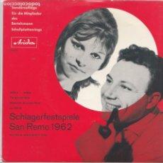 Discos de vinilo: 45 GIRI MILVA CLAUDIO VILLA SCHLAGERFESTIVALSPIELE SANREMO 1962 GERMANY. Lote 234617675