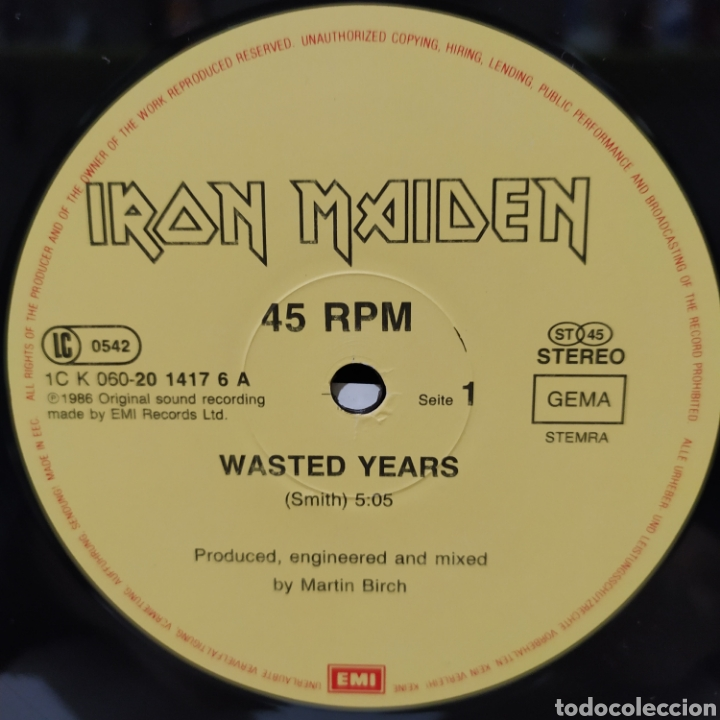 Discos de vinilo: Iron Maiden - Wasted Years 1986 Ed Holandesa - Foto 5 - 234674095
