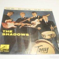 Discos de vinilo: SINGLE THE SHADOWS. GUITAR TANGO. WHAT A LOVELY TUNE. SLEEP WALK. BLUE STAR. EMI 1962 (BUEN ESTADO). Lote 234777345