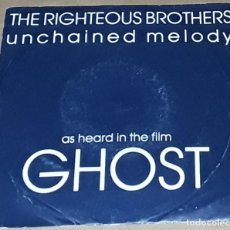 Discos de vinilo: SINGLE- THE RIGHTEOUS BROTHERS - UNCHAINED MELODY - MADE IN UK - B.S.O. GHOST. Lote 234810750