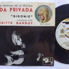 Discos de vinilo: BRIGITTE BARDOT - EP SPAIN PS - EX * VIE PRIVEE * BANDA SONORA VIDA PRIVADA * SIDONIE. Lote 234942440