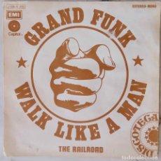 Discos de vinilo: GRAND FUNK, WALK LIKE A MAN. SINGLE ESPAÑA SOLO PORTADA. Lote 235089705