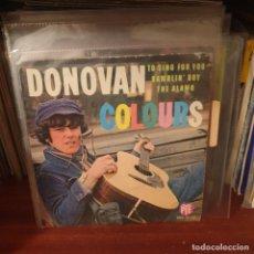 Discos de vinilo: DONOVAN / COLOURS / EDICIÓN FRANCESA / PYE RECORDS 1965. Lote 235113250