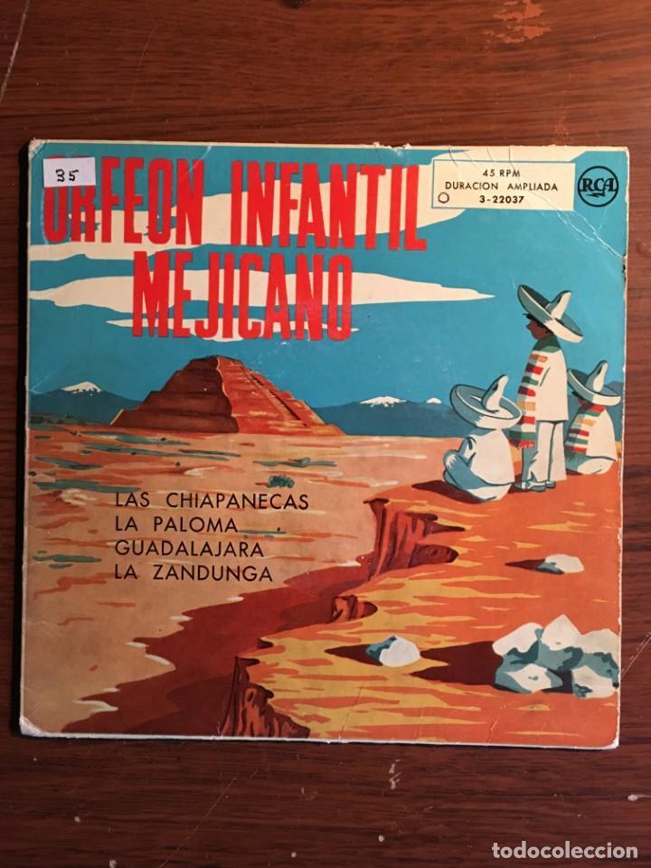 """EP 7"""" ORFEON INFANTIL MEJICANO, CON 4 TEMAS RCA EDICIÓN ESPAÑOLA (Música - Discos de Vinilo - EPs - Grupos y Solistas de latinoamérica)"""