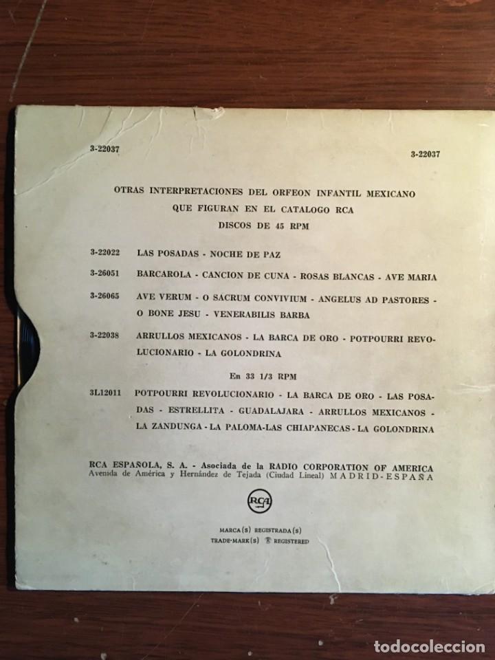 """Discos de vinilo: ep 7"""" ORFEON INFANTIL MEJICANO, con 4 temas RCA edición española - Foto 2 - 235131590"""