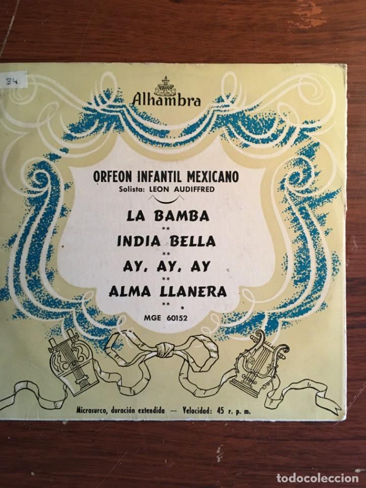 """EP 7"""" ORFEON INFANTIL MEJICANO, CON 4 TEMAS EDICIÓN ESPAÑOLA ALHAMBRA 60S (Música - Discos de Vinilo - EPs - Grupos y Solistas de latinoamérica)"""