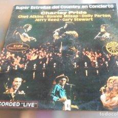 Discos de vinilo: SUPER ESTRELLAS DEL COUNTRY EN CONCIERTO, 2 LP, CHARLEY PRIDE KAW-LIGA + 29, AÑO 1976. Lote 235277020