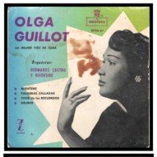 Discos de vinilo: XX SINGLE, OLGA GUILLOT, MIENTEME, PALABRAS CALLADAS, DELIRIO Y VIVIR DE LOS RECUERDOS.. Lote 235374175