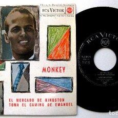 Discos de vinilo: HARRY BELAFONTE - MONKEY +3 - EP RCA VICTOR 1962 BPY. Lote 235448000