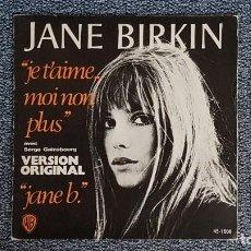 Discos de vinilo: JANE BIRKIN - JE TÁIME MOI NON PLUS / JANE B. AÑO M1.977. EDITADO POR HISPAVOX.. Lote 235514170