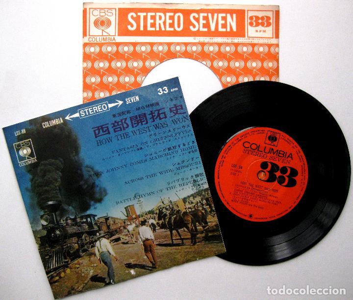 TEMAS DE PELÍCULAS DEL OESTE - HOW THE WEST WAS WON - EP CBS COLUMBIA 1963 JAPAN BPY (Música - Discos de Vinilo - EPs - Bandas Sonoras y Actores)