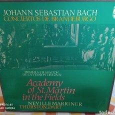 Discos de vinilo: JOHANN SEBASTIAN BACH-ACADEMY OF ST. MARTIN-IN-THE-FIELDS •NEVILLE MARRINER. BRANDEBURGO. 2 LPS. Lote 235630595