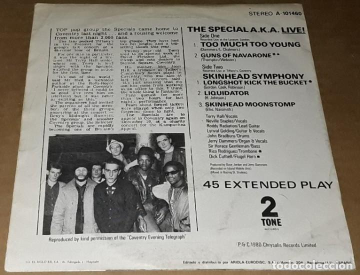 Discos de vinilo: EP- THE SPECIAL A.K.A. - TOO MUCH TOO YOUNG + 4 - THE SPECIAL AKA LIVE - THE SPECIAL - Foto 2 - 235646485