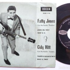 Discos de vinilo: FATTY JONES / CIDY HITT / CON THE ROCKIN' TWISTERS - EP SPAIN PS * EX * ANTES DEL TWIST / TWIST O.K.. Lote 235827230