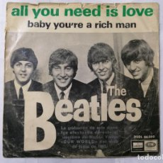 Discos de vinilo: THE BEATLES, ALL YOU NEED IS LOVE / BABY, YOU'RE A RICH MAN , AÑO 1967, ODEON, DSOL 66.080. Lote 235967080
