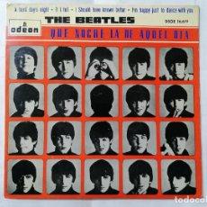 Discos de vinilo: THE BEATLES, A HARD DAY'S NIGHT Y TRES MAS DE QUE NOCHE LA DE AQUEL DIA, AÑO 1964, ODEON, DSOE16.619. Lote 235971180