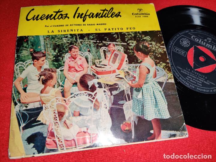 CUADRO ACTORES RADIO MADRID SIRENITA/PATITO FEO EP 7'' 1958 COLUMBIA CUENTOS INFANTILES (Música - Discos de Vinilo - EPs - Otros estilos)