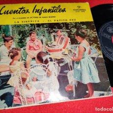Discos de vinilo: CUADRO ACTORES RADIO MADRID SIRENITA/PATITO FEO EP 7'' 1958 COLUMBIA CUENTOS INFANTILES. Lote 236000805