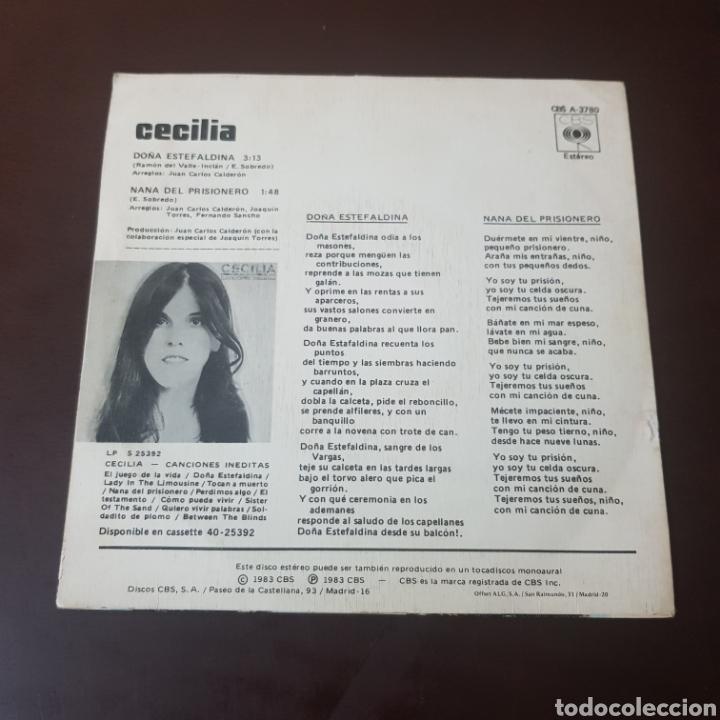 Discos de vinilo: CECILIA - DOÑA ESTEFALDINA - NANA DEL PRISIONERO 1983 SINGLE PROMOCIONAL CBS - Foto 2 - 236044060
