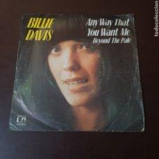 Discos de vinilo: BILLIE DAVIS - ANY WAY THAT - YOU WANT ME - BEYOND THE PALE. Lote 236045500