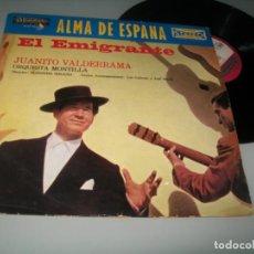 Discos de vinilo: JUANITO VALDERRAMA - ALMA DE ESPAÑA - EL EMIGRANTE ..LP DE EDICIÓN FRANCESA - STEREO -MONO. Lote 236106905