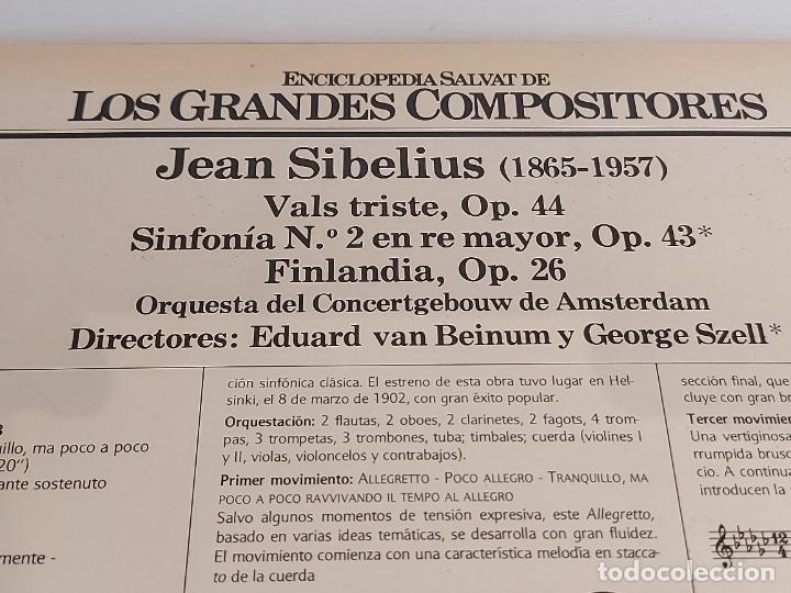 Discos de vinilo: JEAN SIBELIUS / LOS GRANDES COMPOSITORES - SALVAT / 72 / LP - PHILIPS / MBC. ***/*** - Foto 2 - 236143105