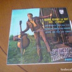 Discos de vinilo: EP : JOHNNY HALLYDAY / QUAND REVIENT LA NUIT + 3 ED SPAIN 1964 VG + EX. Lote 236153230