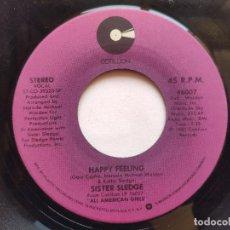 Discos de vinilo: SISTER SLEDGE - 45 USA - HAPPY FEELING / ALL AMERICAN GIRLS. Lote 236185860
