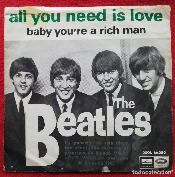 """THE BEATLES - ALL YOU NEED IS LOVE 7"""" 1967 PORTADA UNICA ESPAÑOLA (Música - Discos de Vinilo - EPs - Pop - Rock Extranjero de los 50 y 60)"""