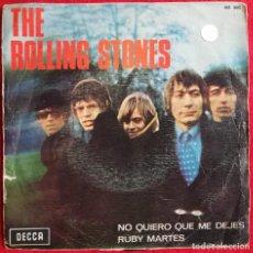 """Discos de vinilo: THE ROLLING STONES - NO QUIERO QUE ME DEJES / RUBY MARTES 7"""" 1967 PORTADA UNICA ESPAÑOLA. Lote 236371980"""