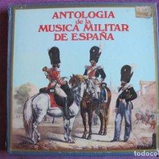 Discos de vinilo: LP - ANTOLOGIA DE LA MUSICA MILITAR DE ESPAÑA (CAJA CON 10 LP'S Y LIBRO CON 112 PAG.). Lote 236396075