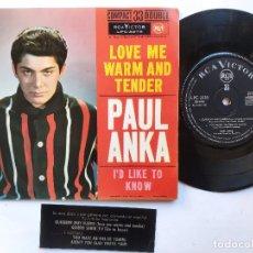 Discos de vinilo: PAUL ANKA - EP SPAIN PS - EX * LOVE ME WARM AND TENDER * RARE 33 RPM * LPC 3278 * AÑO 1962. Lote 236413735