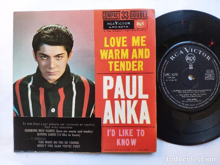 Discos de vinilo: PAUL ANKA - EP Spain PS - EX * LOVE ME WARM AND TENDER * RARE 33 RPM * LPC 3278 * Año 1962 - Foto 2 - 236413735